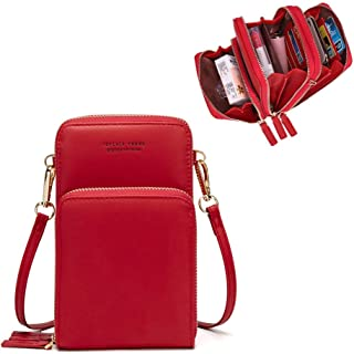 Womens Small Leather Crossbody Phone Purse Shoulder Bag Travel Messenger Handbag Pouch Cellphone Holster Cover Wallet Case Card Holder for iPhone 8 Plus Xs Max X Xr 7/6 Plus Samsung S10+ (Red)