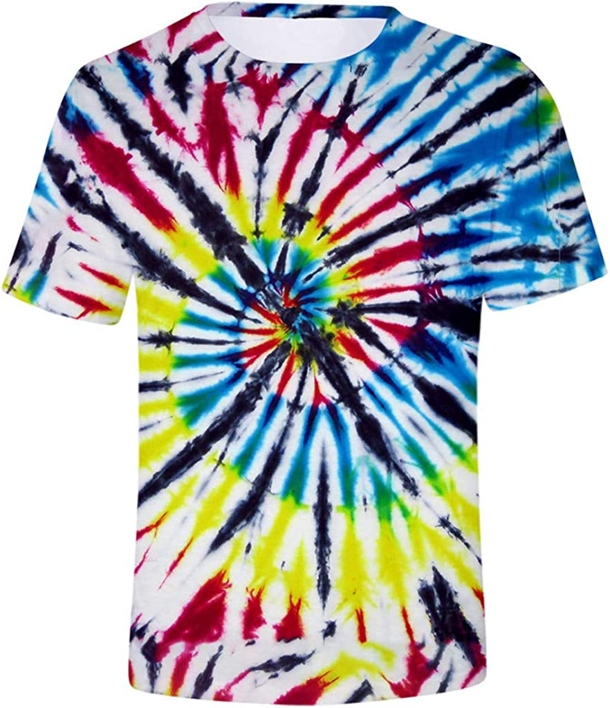 Gergeos Mens T-Shirts 3D Graphic Short Sleeve Tees Tie-Dye Printed Summer Casual Tops