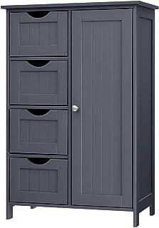 VASAGLE Meuble de Salle de Bain, Placard de Rangement, avec 4 tiroirs, Porte Simple, Planche réglable en Hauteur, pour Sal...
