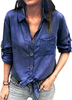 MAXIMGR Women Fashion Button Down Long Sleeve Tie Knot Front Lapel Denim Pockets Shirt Top Blouse