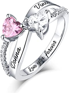 Sterling Silver Engagement Ring Promise Ring for Her 2 Heart Birthstones 2 Names & 1 Engraving Customized & Personalized Mothers Ring