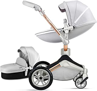 Baby Stroller 360 Degree Rotation Function,Hot Mom Baby Carriage Pu Leather Pushchair Pram 2020,Grey