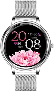 Aliwisdom Smartwatch voor dames, 1,09 inch, rond, smartwatch, fitnesshorloge, waterdicht, sporthorloge, fitnesstracker, me...