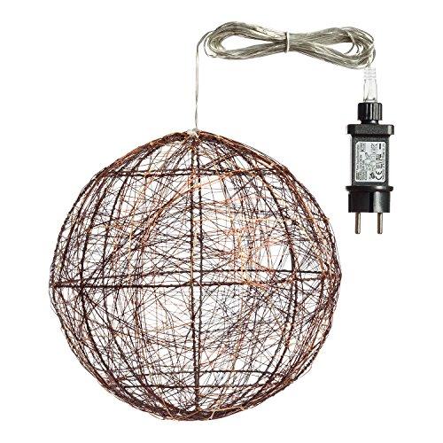 Sphère 3D lumineuse en métal - Diam. 25 cm - Cuivré