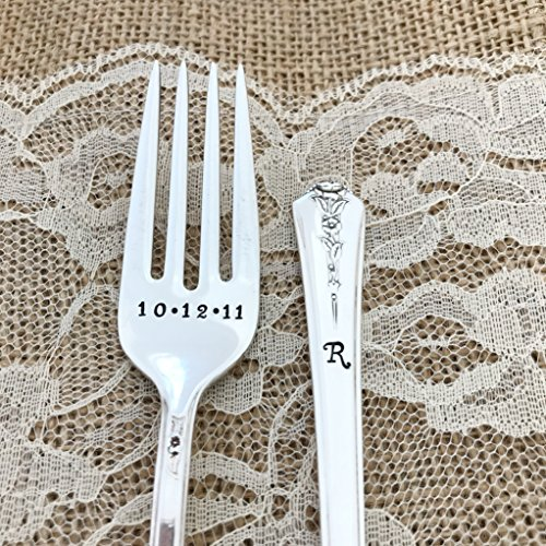 Personalized forks with date and monogram, hand stamped forks: vintage set,Spring Garden