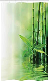 ABAKUHAUS Asian Stall Shower Curtain, Bamboo Stalks Reflection on Water Blurs Freshness Japanese Nature Spa, Fabric Bathro...