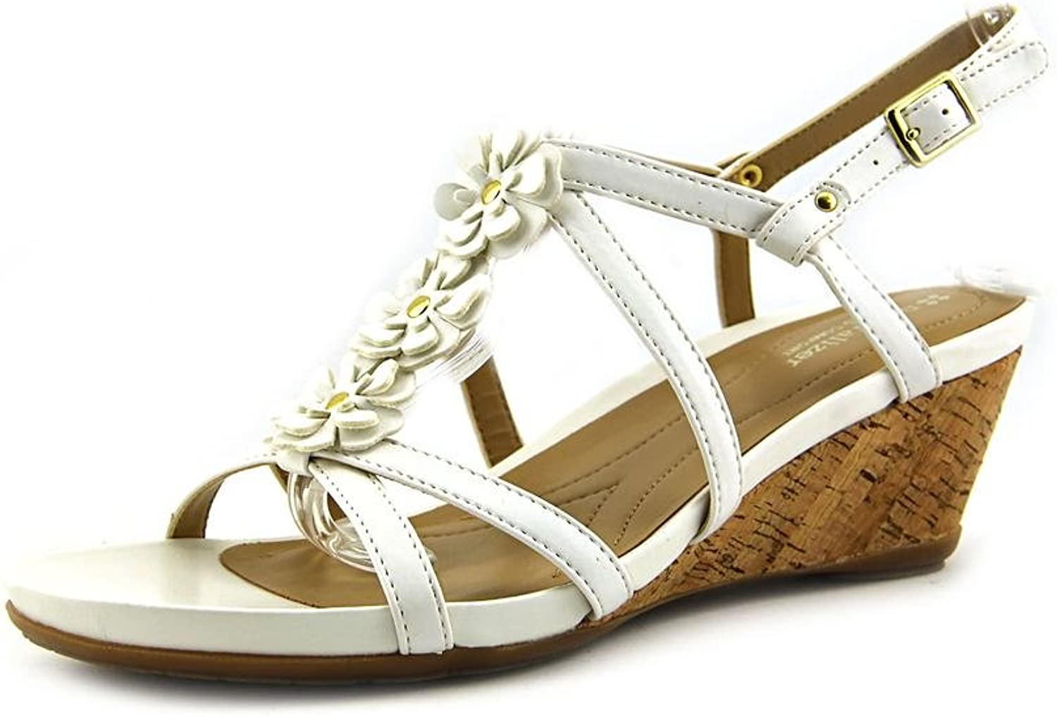 shoesbrandnames Naturalizer Sudi Womens Size 9 White Open Toe Faux Leather Wedge Sandals shoes