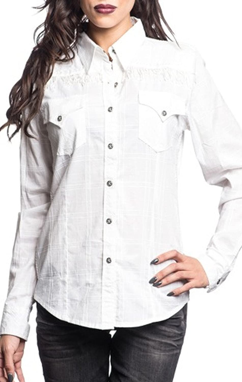 Affliction Warrior Fashion Woven Button Down Long Sleeve Shirt for Women White