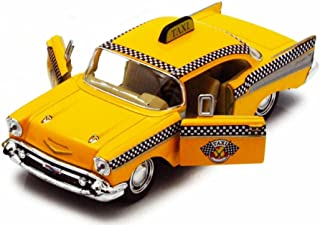 1957 Chevy Bel Air Taxi Cab, Yellow - Kinsmart 5360D - 1/40 Scale Diecast Model Toy Car, but NO Box