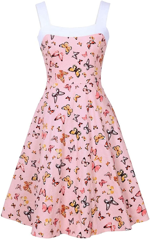 FUZHUANGHM Butterfly Print Pin Up Summer Women Vintage Dress Zipper Sleeveless Retro Dress Elegant Party