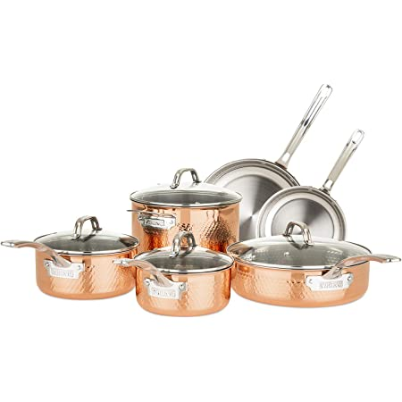 Amazon Com Viking Culinary 3 Ply Stainless Steel Hammered Copper Clad Cookware Set 10 Piece Kitchen Dining