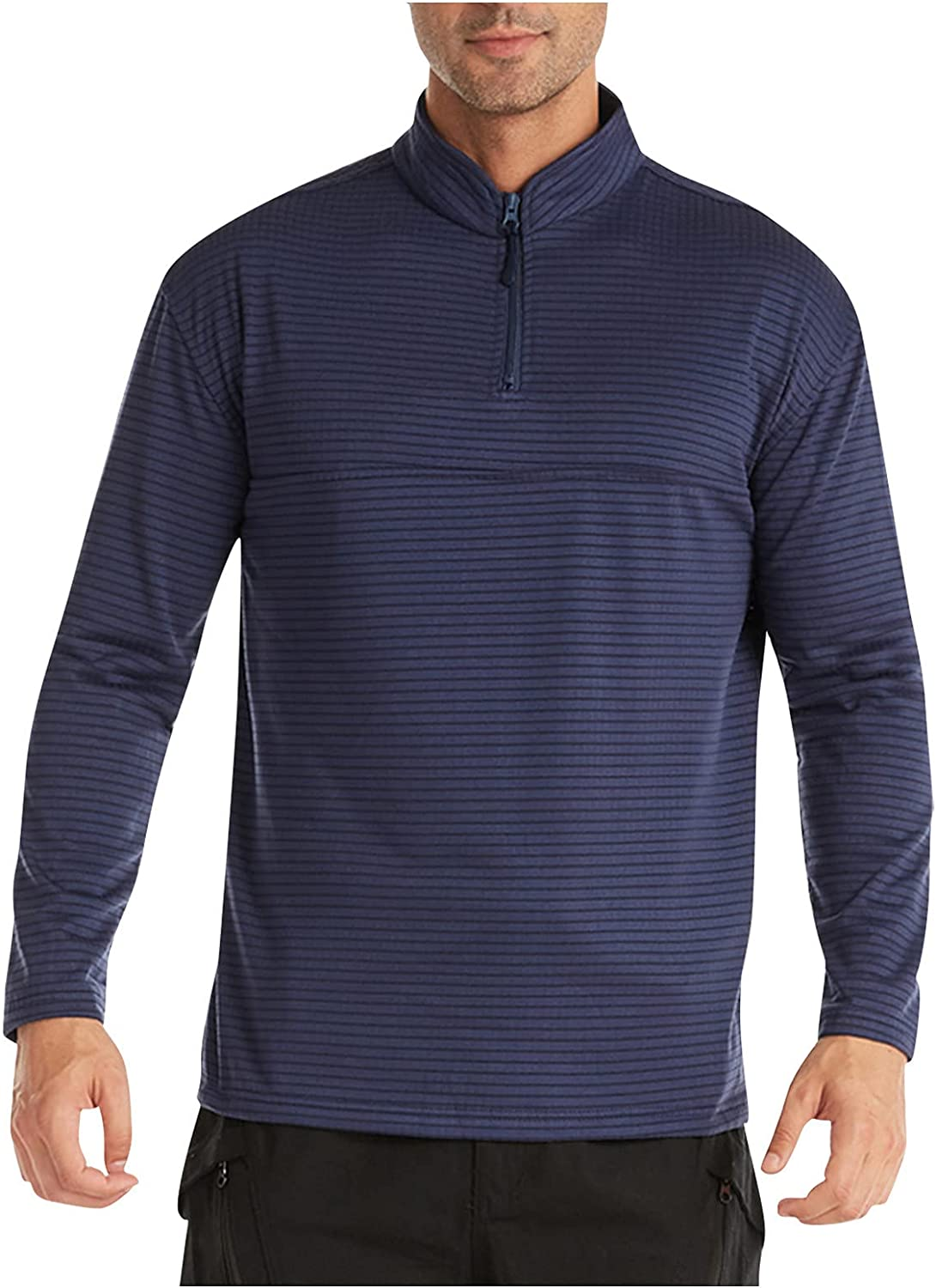 Men's Long Sleeve Fleece Thermal Blouse Zipper Stand Collar Solid Color Casual and Comfortable Soft Tops