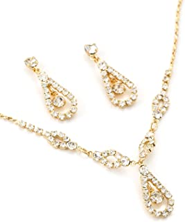 Gold Teardrop Shape Line Necklace with Crystal Inserts & Matching Dangle Earrings Jewelry Set