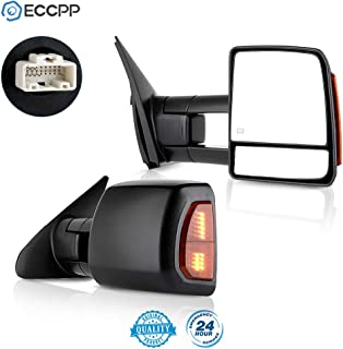 ECCPP Passenger Left Driver Right Tow Mirrors Pair Set Side LED Signal Power Heated Manual Telescoping Black Towing Mirrors Replaceme fit 2007-2016 for Toyota for Tundra (Pair Set) (A Pair)