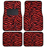 BDK Safari Zebra Print Design Floor Mats for Car, Truck, SUV - Universal Fit Auto Accessories, 4 Pieces (Red)