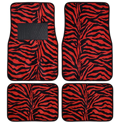 BDK MT-902-RD Red Zebra 4-Piece Animal Print Velvet Carpet Floor Mat for Car SUV Truck and Van