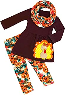 Christmas Merry Wishes 2020 2PCS Clothes Set Infant Toddler Baby Cartoon Turkey T Shirt +Floral Pants +Headband 3PCS Outfi...