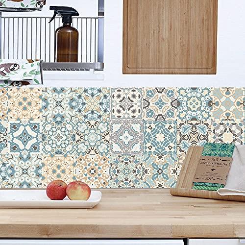 Azulejos Adhesivos para Sala de Estar Dormitorio Cocina Baño, Mosaico Diagonal Art DIY Papel Pintado, Impermeable Protector contra Salpicaduras 24 Piezas/Juego