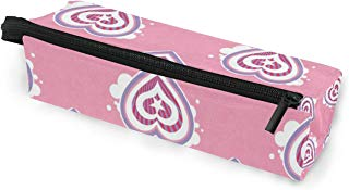 Glasses Case Hearts Pattern Multi-Function Zippered Pencil Box Makeup Cosmetic Bag for Women
