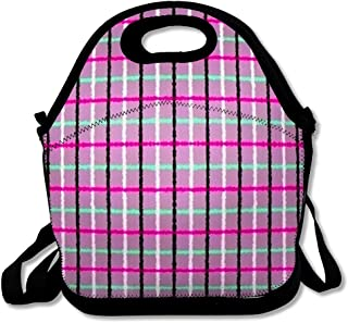 Reusable Soft Lunch Tote Table Blue Bistro Abstract Gingham Pattern High Retro Bright Checkered Color Configuration Floor Insulated Lunch Bag for Women Men and Kids