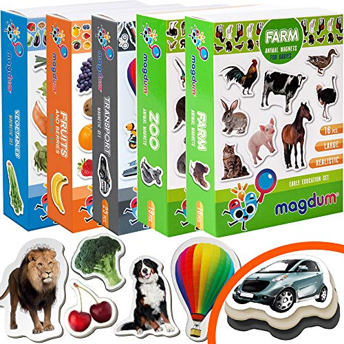 Magdum 5 Sets Foto Granja+ Zoo Animales+ Frutas+ Verduras+ Transporte Imanes de Nevera (110 pz) para Niño -Magnético Educational Aprender Juguete Bebé 3 añ- Cocina Imán- CUMPLEAÑOS O Navidad R