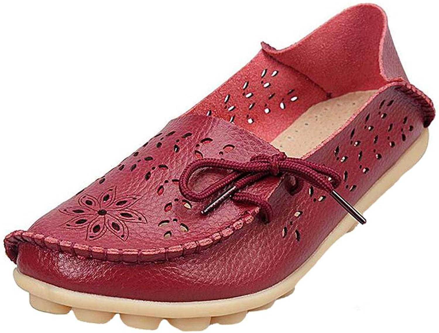 Angelliu Women Casual Hollow Autumn Spring Leather Doug Flats Mom's shoes Loafers Wine Red