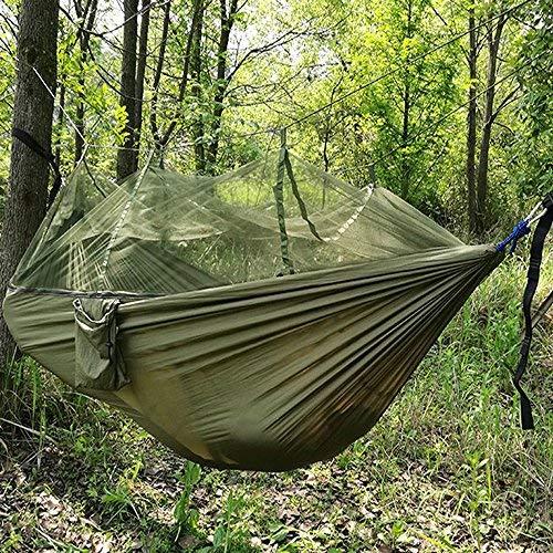 UMsky Hamacas de la selva con mosquitero, cordón portátil barra de mosquitos al aire libre Cama de columpio para dormir hamaca cama doble cama colgante verde para camping y senderismo