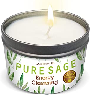 MAGNIFICENT101 Pure White Sage Smudge Candle for House Energy Cleansing, Banishes..