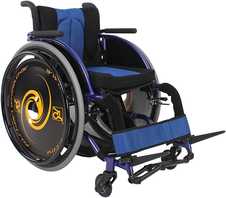 BrightFootBook Silla De Ruedas Deportiva, Rueda Trasera De Liberación Rápida, Portátil Plegable, Conducción para Personas Mayores Discapacitadas,Blue-L