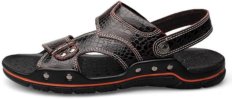 Yingsssq Men's Large Alligator Texture Flip Flops Summer Casual Leather Sandal (color   Wine red, Size   48)