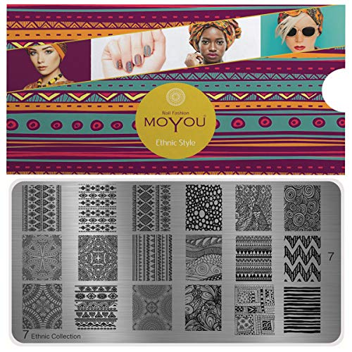 MoYou's XL Ethnic Plate Collection 7 Full Designs Stamping Schablone Nail Art Image Plate
