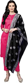 Cenizas Women's Faux Polyester Silk Kurta with Palazzo Pant & Embossed Dupatta Set