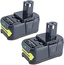 Biswaye 2 Pack 5000mAh 18V Lithium Battery P108 for Ryobi, Replacement for Ryobi 18-Volt..