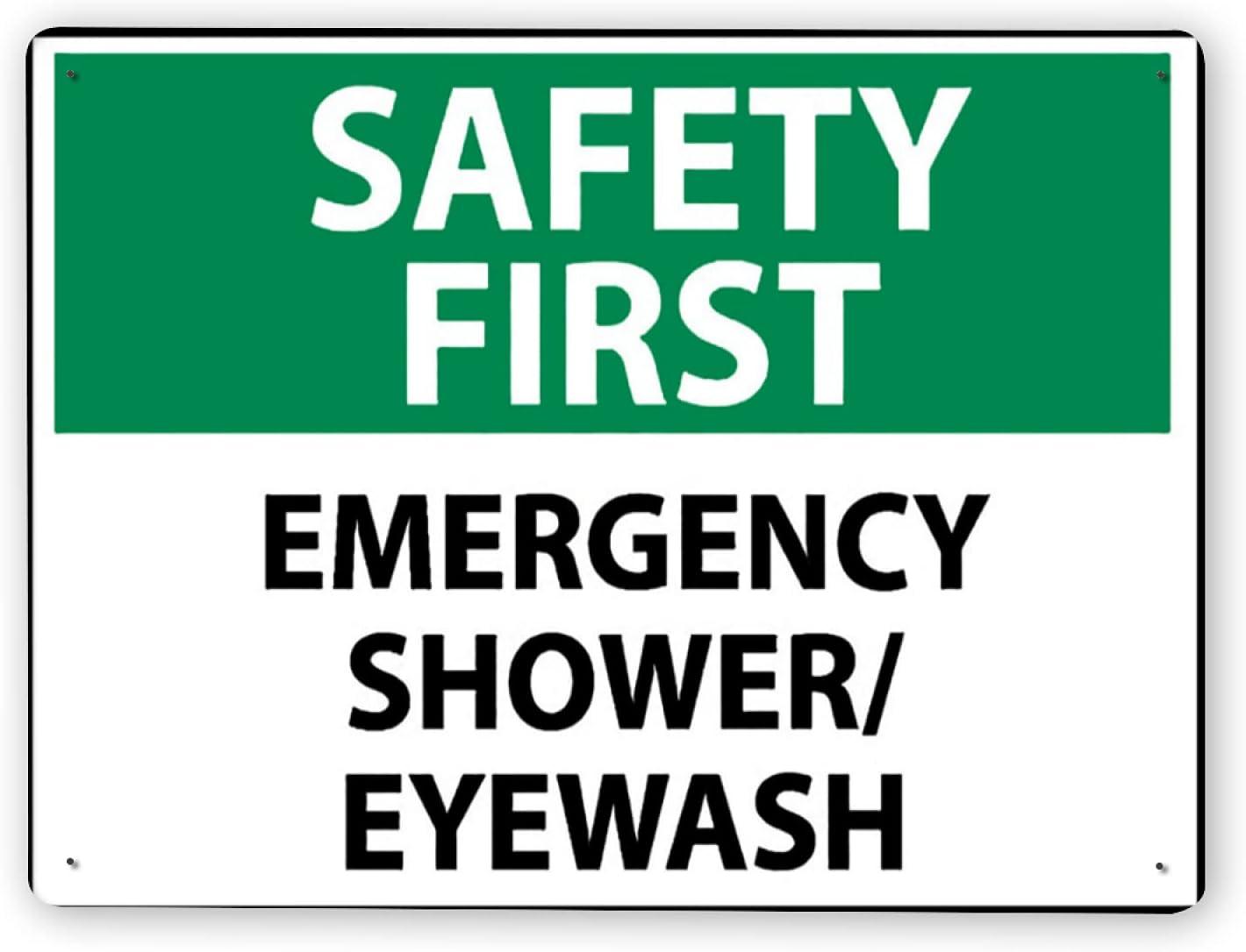 Señal de advertencia,Lavaojos de ducha de emergencia SAFETY FIRST,Señal de tráfico Señal de carretera Señal de empresa 12x16 Inch Cartel de chapa de metal de aluminio
