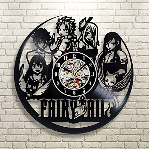 FairyTail Anime Vinyl Record Wall Clock - Decorate your home with Modern Large Art - Gift for kids, girls and boys