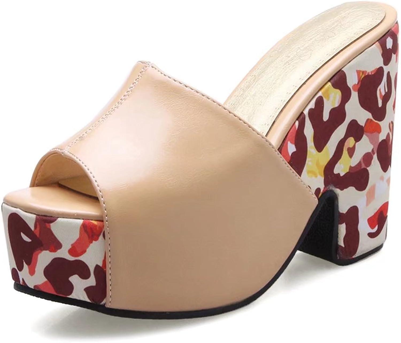 KingRover Women's Summer Camouflage Platform PeepToe Mule Clogs Chunky High Heel