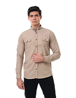 Andora Long Sleeves Contrast-Placket Chest Pockets Solid Button-Down Shirt for Men