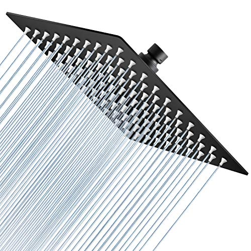 High Pressure Shower Head, 8 inch Rain Showerhead,Ultra Thin Square Rainfall Shower Head for Bathroom - Easy to Install and Whole Body Covered (Matte Black)