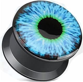 Blue Eyeball Print Black Acrylic Flat Screw Fit Plugs - Sold as Pairs