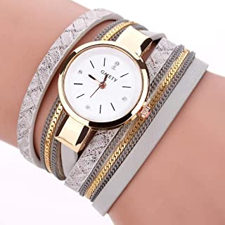 wall clock, Women's Wrist Watches Ladies Series Girls Watch Female for Women 3 Circle Winding Table Watch pu Leather Watc...