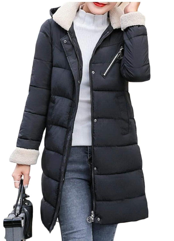 maweisong 女性フードダウンコート中長ロングパフジャケットコート