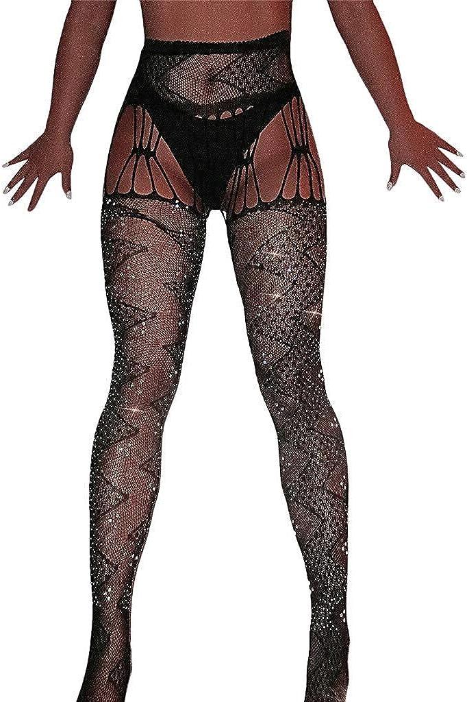Meisiqw Sexy Women Glitter Rhinestone Jacquard Weave Fishnet Mesh Stockings Tights Pantyhose Pretty