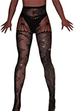 SNOWSONG Women's Fishnet Stockings Tights Rhinestone Sexy Pantyhose Thigh High Wasited Stocking