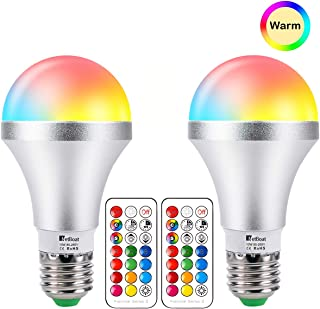 LED Light Bulbs E26 Dimmable Color Changing Light Bulb, 10W RGB+Warm White Multicolor Light Bulb with Remote Control, Dual Memory, Decorative Lights Mood Lights for Home Decor, Stage, Party-2 Pack