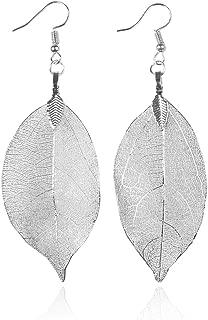 Bohemian Metal Dipped Natural Leaf Drop Earrings - Lightweight Botanical Filigree Dangles