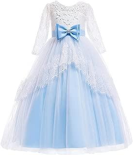 Jurebecia Girls Floor Length Princess Dresses Kids Sleeveless Wedding Party Prom Ball Gowns Dress 5-14 Years