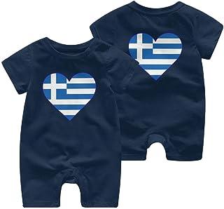 Ives Jean Baby ärmellose Bodysuit Flagge von Griechenland Neugeborene Baby Kurzarm Bodysuit Kinderpyjamas 0-24 Monate
