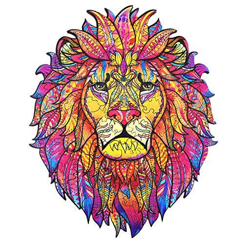 Rompecabezas de Madera | Puzzle de Forma única | Puzzles de Animales de Madera de león | Rompecabezas de Navidad para Adultos, Ideal para la colección de Juegos Familiar 29 cm x 21 cm