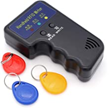Hooshion Duplicator Key Handheld 125KHz RFID IC ID Card Copier Writer Duplicator Programmer Reader Match Writable EM4305 ID Keyfobs Tags(with 3 Keys,Battery Not Include(Black)