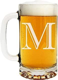 Etched Monogram 16oz Glass Beer Mug (Letter M)